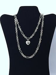David Yurman 18k Gold And Silver Figaro Chain Necklace 32 And Heart Pave Diamonds