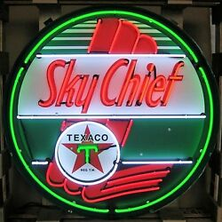 Texaco Sky Chief Gasoline Neon Sign - Gas And Motor Oil - Massive 36 - Metal Can