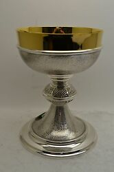 + Very Nice Chalice + Hand Etched Silver Finish + European Made +