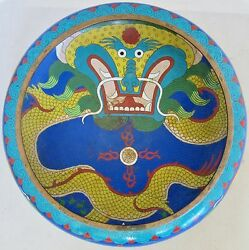 11.7 Antique Chinese Blue Cloisonne Squat Vase Or Bowl With Dragons And Xuande