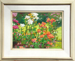 Kim Mackey Park Roses Hand Signed Original Oil Painting On Board Floral Obo
