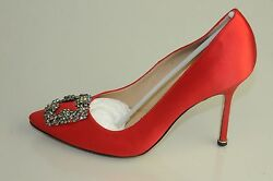 $965 NEW MANOLO BLAHNIK HANGISI 105 RED Satin JEWELED Pumps SHOES 39 40