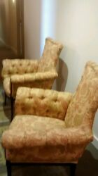 Antique Matching Pair Wingback Chairs Gold Queen Anne Legs Nail Head Accents