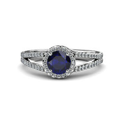 Blue Sapphire And Diamond Si2-i1 G-h Halo Engagement Ring 1.33 Ct Tw 14k Gold