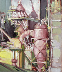Jill Soukup Anacortes Factory 4 Original Oil Painting On Board, Machinery Obo
