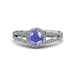Tanzanite And Diamond Si2-i1 G-h Halo Engagement Ring 1.30 Ct Tw In 14k Gold