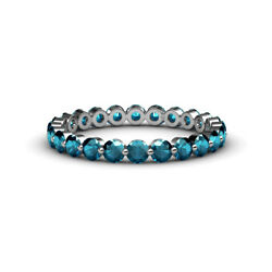 Floating Blue Diamond Womens Eternity Ring Stackable 1.7ctw 14k Gold Jp47836