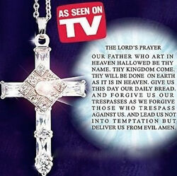 The Lords Prayer Cross Pendant Necklace New in Beautiful Velvet Gift Box $37.98