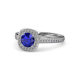 Blue Sapphire And Diamond Womens Halo Engagement Ring 1.15 Ctw 14k Gold Jp54740
