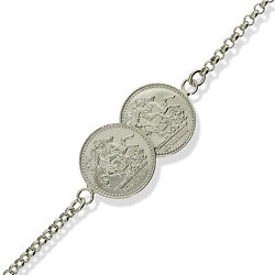 Sterling Silver Solid Double St George Coin Belcher Chain Link Bracelet Gift Box