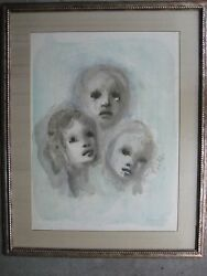 Exceptional Leonor Fini Surreal Limited Edition Lithograph 3 Faces