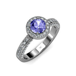 Tanzanite And Diamond Halo Engagement Ring 1.51 Ct Tw In 14k Gold Jp55082