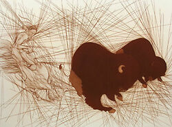 Azoulay Deux Bison Signed Numbered Ltd Ed Etching Art Print 2 Buffalo Obo 1982