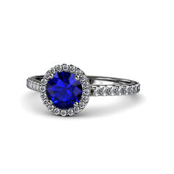 Blue Sapphire And Diamond Halo Engagement Ring 1.38 Ct Tw 14k Gold Jp55638