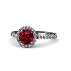 Ruby And Diamond Halo Engagement Ring 1.33 Carat Tw In 14k Gold