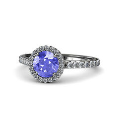 Tanzanite And Diamond Halo Engagement Ring 1.30 Ct Tw In 14k Gold Jp55644