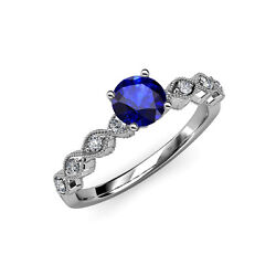 Blue Sapphire And Diamond Milgrain Twisted Solitaire Plus Ring 14k Gold Jp57098