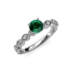 Emerald And Diamond Milgrain Work Twisted Solitaire Plus Ring 14k Gold Jp57137
