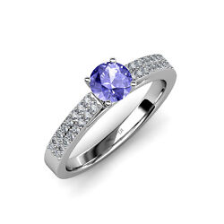 Tanzanite And Diamond Double Row Solitaire Plus Engagement Ring 14k Gold Jp58082