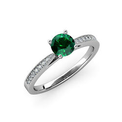 Emerald And Diamond Engagement Ring With Milgrain Work 0.91 Ct Tw In 14k Gold