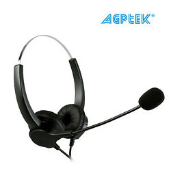 Hands-free Call Center Noise Cancelling Corded Binaural Headset Headphone + Mic