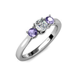 Diamond And Iolite Women 3 Stone Engagement Ring 0.98 Ct Tw In 14k Gold Jp41798