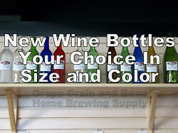 Glass Wine Bottles. Your Choice In Size And Color New Glass Wine Bottles