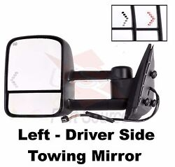 Towing Mirror Primed Left Hand Heated Power Truck Chevy Driver Side Lh New Tow