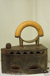 Antique Large Heavy Coal Cast Iron With Wood Handle - German Fülek 4 Markings