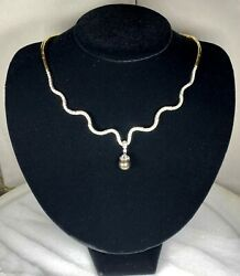 14k White Yellow Gold Diamond Peacock Tahitian Pearl Meandering Collier Necklace