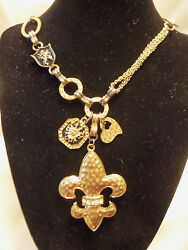 Incredible Assorted Gold Chains And Findings Shield - Fleur De Lys Necklace 13en57