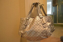 Gucci Pelham Silver leather large shoulder bag
