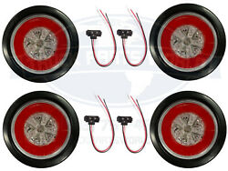 4 Red 18 Led 4 Round Truck Trailer Brake Stop Turn Tail Lights