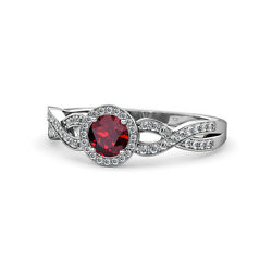 Ruby And Diamond Swirl Halo Engagement Ring 0.99 Carat Tw In 14k Gold Jp67942