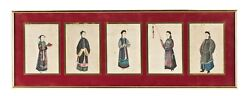 5 Antique Chinese China Qing Dynasty Watercolor Painting Pith Rice Album 1850