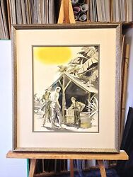 Alexander Kortner 1940and039s Military Army Themed Art Watercolor Ink Gouache