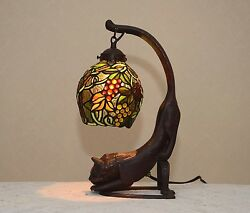 18.5h Grape Vine Stained Glass Handcrafted Table Desk Lamp Night Light