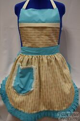 Retro Vintage 50s Style Full Apron / Pinny - Turquoise And Cream