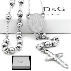 DG 25quot; Stainless Steel Silver Beaded Rosary VIRGIN MARYJESUS CROSS Necklace.BOX