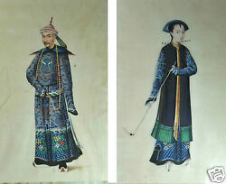 2 Antique Chinese China Qing Dynasty Watercolor Painting Pith Rice Paper 1850