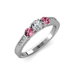 Diamond And Pink Tourmaline 3 Stone Ring With Side Diamond 0.85 Ct Tw In 14k Gold