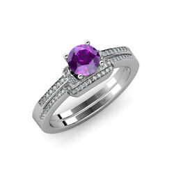 Amethyst And Diamond Engagement Ring And Wedding Band Set 1.25 Ct Tw In 14k Gold
