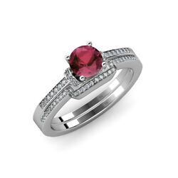 Rhodolite Garnet And Diamond Engagement Ring With Band 1.30 Ctw 14k Gold Jp71544