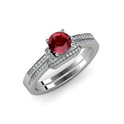 Ruby And Diamond Bridal Set Ring 1.35 Carat Tw In 14k Gold Jp71556