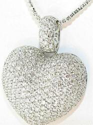 7.92 CT. Diamond Puffed Heart Custom Made Pendant 18K White Gold