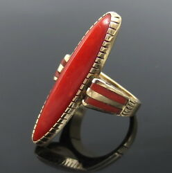 Antique Kirk Natural Untreated Ox Blood Coral And 14k Gold Navette Ring