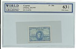 Cyprus Zypern Chypreb British Banknote 3 Piastres 1943 P-28a Unc King George Old