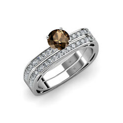 Smoky Quartz And Diamond Engagement Ring With Band 1.15-1.19 Ctw 14k Gold Jp70032