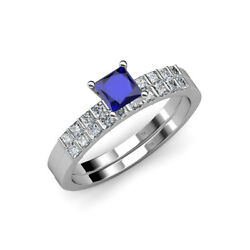 Blue Sapphire And Diamond Engagement Ring And Wedding Band In 14k Gold Jp71831