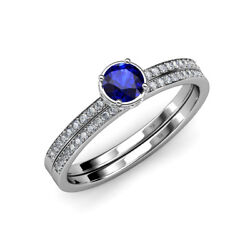 Blue Sapphire And Diamond Halo Engagement Ring And Band 0.95 Ctw 14k Gold Jp70685
